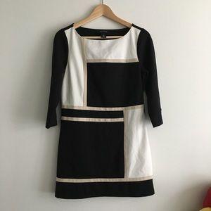 White House Black Market Color Block Dress 3/4 Slv